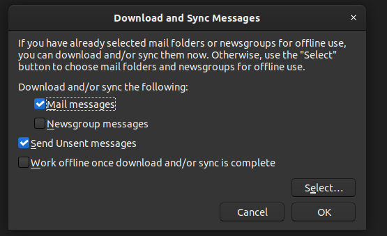 Figure 2: Download and Sync Messages UI